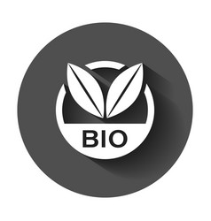 bio label badge icon in flat style eco organic vector image