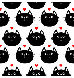 Black cat head with little red heart cute cartoon vector