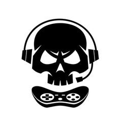 black silhouettes joystick gamer skull isolated vector image