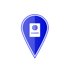 Blue map pointer with passport vector
