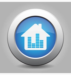 Blue metal button - house with signal vector