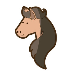 Brown clear silhouette of face side view of horse vector