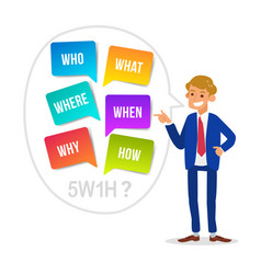 businessman cartoon with who what where when why vector image
