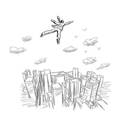 businessman flying in the sky over city vector image