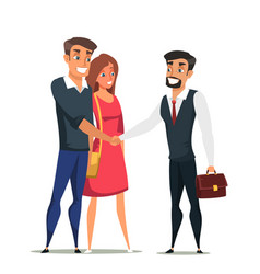 Buyers and real estate agent flat characters vector