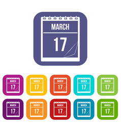 Calendar with date of march 17 icons set flat vector