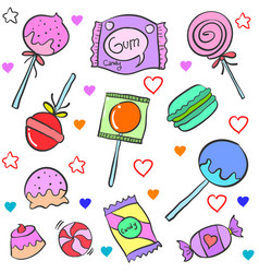 Candy various cartoon doodle style vector