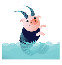 capricorn pig with horns and fish tail vector image