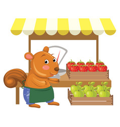 Cartoon greengrocer squirre vector