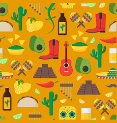 cartoon mexican culture background pattern vector image