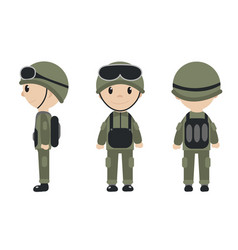 cartoon soldier mascot set of objects in flat vector image