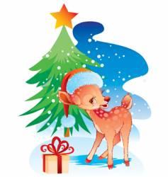 Christmas deer in a hat vector