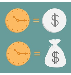Clock and dollar coin and bag Icons Time is money vector image