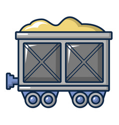 Coal trolley icon cartoon style vector