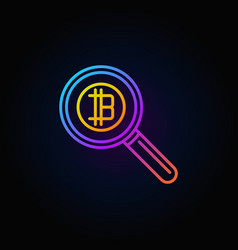 colorful magnifying glass with bitcoin concept vector image