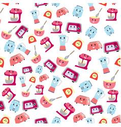 cute kittchen electricity cartoon seamless pattern vector image