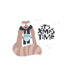 Cute raccoon hand drawn cartoon character vector