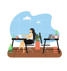 daily life business woman working on laptop vector image