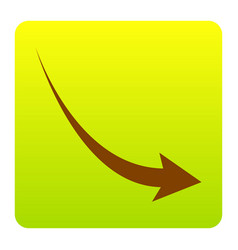 declining arrow sign brown icon at green vector image