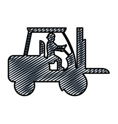 Doodle pictograph laborer with forklift equipment vector