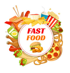 Fast food restaurant poster with lunch menu frame vector