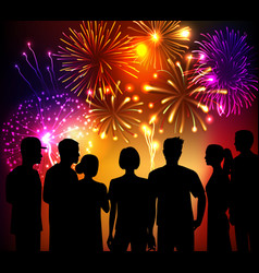 Fireworks and crowd background vector