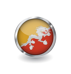 flag of bhutan button with metal frame and shadow vector image