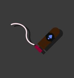 Flat icon design collection cigar and smoke vector