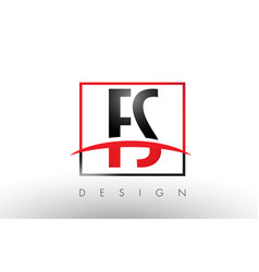 fs f s logo letters with red and black colors and vector image