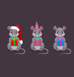 Funny cartoon sitting mouse with gift box in the vector