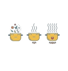 Funny pot icons set vector