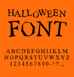 halloween font curves letters to terrible vector image