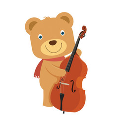 Happy cute brown teddy bear playing cello in flat vector