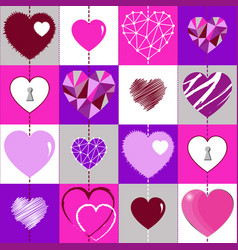 happy valentines day background and checkered vector image
