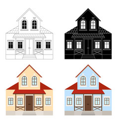 house set two-storey residential building with vector image