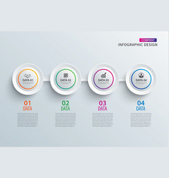Infographics circle paper with 4 data horizontal vector
