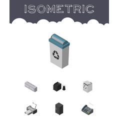 Isometric office set of printing machine office vector