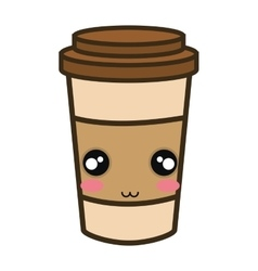 Kawaii cartoon coffee portable cup vector