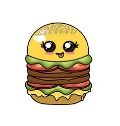 Kawaii cute hamburger fast food vector