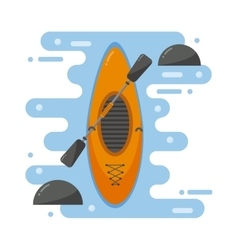 Kayaking boat vector