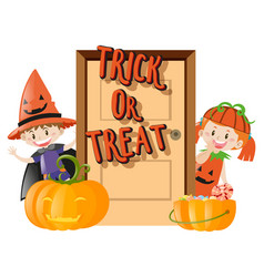 Kids and trick or treat on halloween night vector