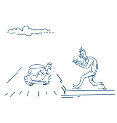 Man walking road talking on the mobile phone vector