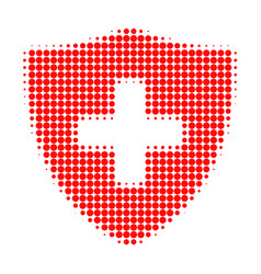 medical shield halftone dotted icon vector image