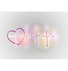medical symbol ekg sweet heart vector image