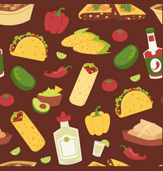 Mexican traditional food with meat seamless vector