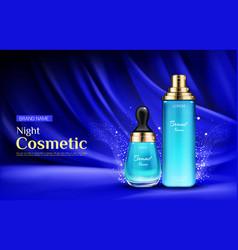 Night cosmetic beauty cream bottles ad banner vector