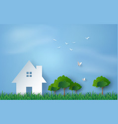 Paper art of house in green field and blue sky vector