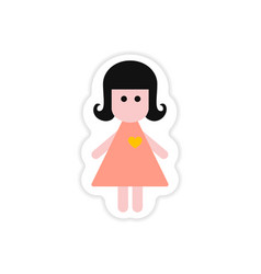 Paper sticker on white background girl in love vector