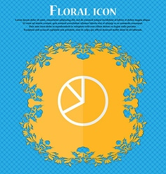 Pie chart graph Floral flat design on a blue vector image