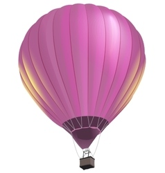 Pink big air balloon with basket flies vector